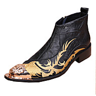 メンズ 靴 レザー 春 夏 秋 冬 アイデア ファッションブーツ コンバットブーツ コンフォートシューズ ブーツ ウォーキング リベット フラワー コンビ 用途 結婚式 カジュアル パーティー ブラック