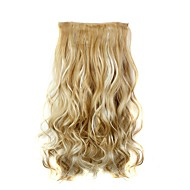 Clip In Hair Extensions Hairpiece 23inch 58cm 110g Curly Wavy Hair Extension Synthetic Heat Resistant  D1010 27H613#