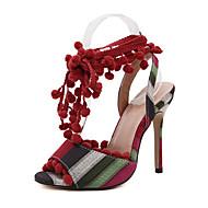 Feminino-Sandálias-Conforto Inovador Gladiador Sapatos clube-Salto Agulha-Preto Vermelho-Lona-Casamento Ar-Livre Escritório & Trabalho