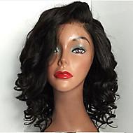 Women Human Hair Lace Wig Brazilian Remy Lace Front 130% Density Curly Wig Dark Black Black Dark Brown Medium Brown Short Medium Long