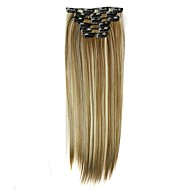 Synthetic Hair 58cm 130g  with Clips 16 Clip in Hair Extensions False Hair Hairpieces Synthetic 23inch Long Straight Apply Hairpiece D1014 6H613#