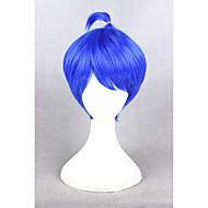 Γυναικείο Συνθετικές Περούκες Χωρίς κάλυμμα Κοντό Ίσια Μπλε Περούκα άνιμε Απόκριες Περούκα Καρναβάλι περούκα φορεσιά περούκες