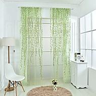Jedna ploča Zemlja Loza Zelen / Crvena Living Room Polyester Sheer Zavjese Shades