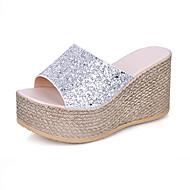 Femme Chaussures Paillette Eté Confort Sandales Marche Talon Compensé Bout ouvert Creuse Pour Décontracté Or Noir Argent