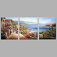 Kézzel festett Emberek Vízszintes,Modern Három elem Vászon Hang festett olajfestmény For lakberendezési