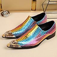 Férfi cipő Bőr Tavasz Ősz Kényelmes Újdonság Formai cipő Papucsok & Balerinacipők Gyalogló Fém sarok Kompatibilitás Esküvő Party és