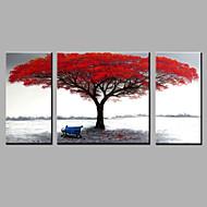 Kézzel festett Absztrakt Vízszintes,Modern Három elem Vászon Hang festett olajfestmény For lakberendezési