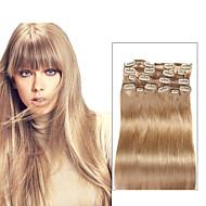 9pcs / set Deluxe 120 g # 18 bež plava Isječak u kosu ekstenzije 16inch 20inch 100% ravno ljudske kose