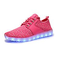 Dames Sneakers Oplichtende schoenen Tule Lente Herfst Causaal Wandelen Platte hak Fuchsia Roze zwart/wit Zwart/Rood Plat