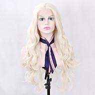 Naisten Synteettiset peruukit Lace Front Pitkä Laineikas Vaaleahiuksisuus Luonnollinen hiusviiva Keskijakaus Luonnollinen peruukki puku