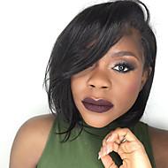 Naisten Aitohiusperuukit verkolla Aidot hiukset Lace Front Liimaton puoliverkko 130% Tiheys Suora Peruukki Musta Lyhyt Keskikokoinen