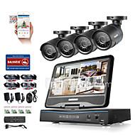 Sannce® 8ch 4pcs 720p lcd dvr защита от погодных наблюдений система безопасности, поддерживаемая аналоговой ahd tvi ip-камерой