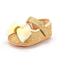 Kinder Baby Loafers & Slip-Ons Lauflern Kunststoff Sommer Herbst Normal Kleid Party & Festivität Lauflern Schleife Flacher Absatz Gold Rot