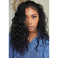 Naisten Aitohiusperuukit verkolla Aidot hiukset Full Lace Liimaton kokoverkko 130% Tiheys Vesilaine Peruukki Musta Keskikokoinen Pitkä