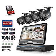 Sannce® 8ch 4шт 720p lcd dvr защищенная от непогоды система безопасности, поддерживаемая аналоговая ahd tvi ip camera 1tb