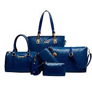 Női táska szettek Marhabőr Minden évszak Hétköznapi Zubbony Cipzár Fekete Bézs Kék Világosbarna