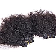 Menneskehår Vevet Mongolsk hår Kinky Krøllet 12 måneder 1 Deler hår vever