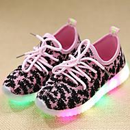 Para Meninas Tênis Tênis com LED Couro Tule Primavera Verão Outono Casual Caminhada Tênis com LED Cadarço LED Salto BaixoPreto Verde Rosa