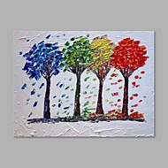 Ζωγραφισμένα στο χέρι Άνθινο/Βοτανικό Horizontal,Καλλιτεχνικό Μονόπτυχα Καραβόπανο Hang-ζωγραφισμένα ελαιογραφία For Αρχική Διακόσμηση