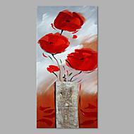 Ručno oslikana Cvjetni / Botanički Vertikalno,Umjetnički Jedna ploha Platno Hang oslikana uljanim bojama For Početna Dekoracija