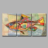 מצויר ביד בעלי חיים אומנותי מודרני / עכשווי משרד / עסקים מגניב חג מולד לשנה החדשה שלושה פנלים בד ציור שמן צבוע-Hang For קישוט הבית