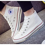 Feminino Sapatos Lona Primavera Outono Conforto Tênis Para Casual Branco Preto Vermelho Azul