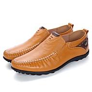 Masculino Mocassins e Slip-Ons Sapatos de mergulho Primavera Outono Pele Casual Rasteiro Preto Castanho Claro Castanho Escuro 5 a 7 cm
