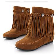 Feminino Botas Curta/Ankle Couro Ecológico Outono Inverno Casual Rasteiro Preto Marron Vermelho Menos de 2,5cm