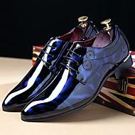 Masculino sapatos Couro Envernizado Outono Inverno Conforto Oxfords Cadarço Para Casual Festas & Noite Preto Azul Real Vinho