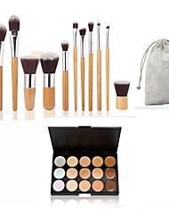11pc bambu kahva ja nylon hair kosmetiikka meikki harjasetti ja 15 väriä peitevoide