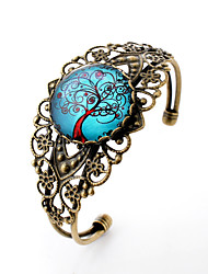 Lureme® Vintage Jewelry Time Gem Series Blue Sky with Life Tree Antique Bronze Hollow Flower Open Bracelet for Women