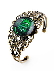 Lureme® Vintage Jewelry Time Gem Series Green Snake Antique Bronze Hollow Flower Open Bangle for Women