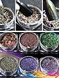 6 színes eladási köröm lézeres mágikus mágikus tükör por tűzijáték por lézer kaméleon diy