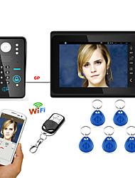 7inch kabelové / bezdrátové wifi rfid heslo video dveřní telefon zvonek intercom systém upport vzdálená aplikace odemknutí nahrávání