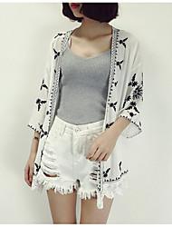 Damen Druck Freizeit Alltag Mantel,V-Ausschnitt Sommer Kurzarm Standard Polyester