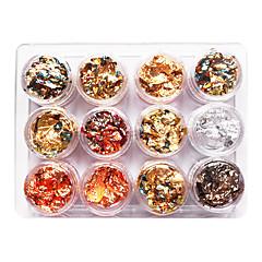 12kpl sekoitettu väri Foil Nail Art Koristelu Golden Silver Värikäs kalvoa