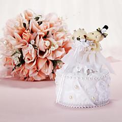 Music Box Pillow anel de casamento com urso e Faux Pérola