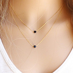 Women's Pendant Necklaces Layered Necklaces Crystal Black Gemstone Round Gemstone Crystal Gem Gold Filled Basic Fashion European Simple