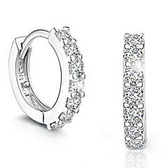 女性用 ドロップイヤリング ファッション シンプルなスタイル コスチュームジュエリー 純銀製 イミテーションダイヤモンド 円形 ジュエリー 用途 パーティー 日常 カジュアル