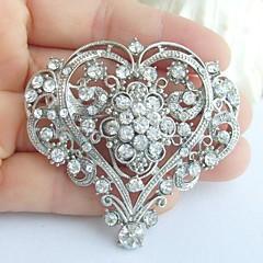 Wedding 2.17 Inch Silver-tone Clear Rhinestone Crystal Bridal Brooch Wedding Deco Bridal Bouquet Love Heart Brooch