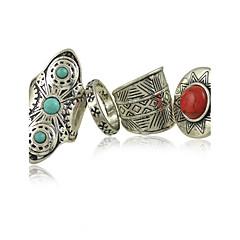 Anéis Mulheres turquesa Liga Liga 8 Prata / Vermelho / AzulRepresentação de estilo & cor pode variar de monitor. Não nos