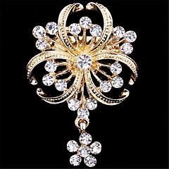 Feminino Broches imitação de diamante Moda Dourado Jóias Casamento Festa Ocasião Especial Aniversário Diário Casual