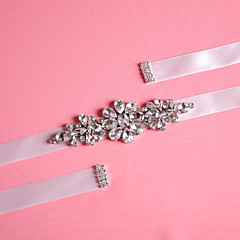 Satin Wedding / Party/ Evening / Dailywear Sash-Beading / Crystal / Rhinestone Women's 98 ½in(250cm) Beading / Crystal / Rhinestone