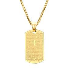 Herre Anheng Halskjede Kors Formet Perle Rustfritt Stål Gullbelagt Hengende Mote kostyme smykker Smykker Til Bryllup Fest Bursdag