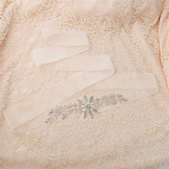 Organza Wedding / Party/ Evening / Dailywear Sash-Beading / Rhinestone Women's 98 ½in(250cm) Beading / Rhinestone