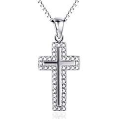 Anhänger Kristall Kreuzform Sterling Silber Zirkon Kubikzirkonia Diamantimitate Kreuz Luxus-Schmuck Schmuck Für Alltag Normal