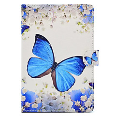 Para Com Suporte Estampada Capinha Corpo Inteiro Capinha Borboleta Rígida Couro PU para Apple iPad Mini 4 iPad Mini 3/2/1