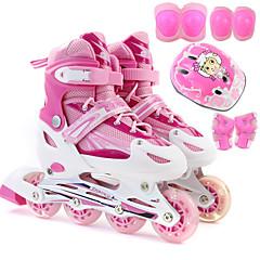 Kinder Inline-Skate Set mit Helm & Knieschützern LED Licht Blau/Weiß/Rosa