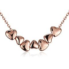 בגדי ריקוד נשים שרשראות מחרוזת שרשראות תליון תכשיטים זירקונה מעוקבת Heart Shape Geometric Shape קריסטל נחושת ציפוי זהב משובץ זהב ורוד