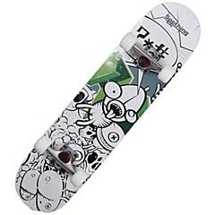 31 inç Komple Kaykay Standart Skateboards Hafif Akçaağaç 608ZZ-Beyaz Siyah Mavi Desen